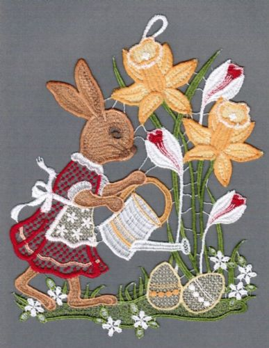 Embroidered Lace Mrs Bunny with Watering Can Window Picture